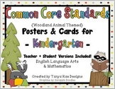 Common Core Standards Posters & Cards for Kindergarten {Woodland Theme}