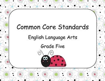 Common Core Standards Posters ELA Grade 5 Ladybug Theme