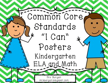 Common Core Standards Posters ELA and Math Green Chevron Kids