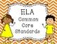 Common Core Standards Posters ELA and Math Orange Chevron Kids