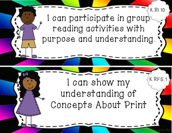 Common Core Standards Posters ELA and Math Sunburst for Kindergarten
