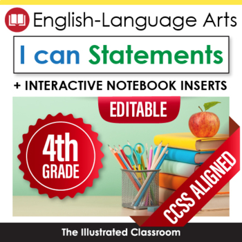 Common Core Standards I Can Statemtents for 4th Grade ELA - Full Page