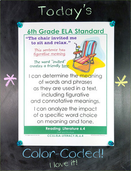 Common Core Standards I Can Statements for Sixth Grade - Full Page