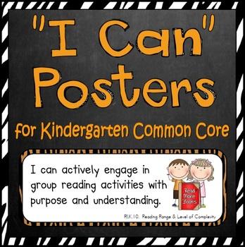 Common Core Standards Posters (Kindergarten-- Animal Print)