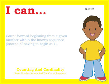 Common Core Standards Posters Kindergarten Math - Primary Colors