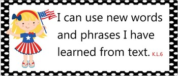 Common Core Standards Posters - Kindergarten - Red White and Blue