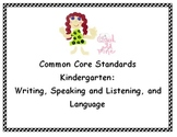 Common Core Standards Posters - Kindergarten - Writing, Sp