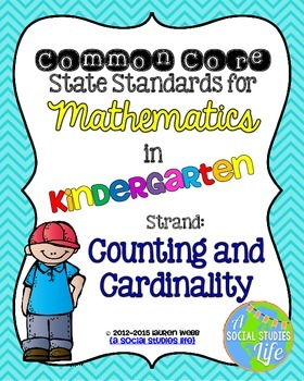 Kindergarten Math Common Core Standards Posters Counting and Cardinality