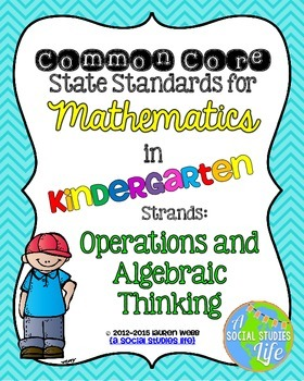 Kindergarten Math Common Core Standards Posters Operations