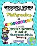 Kindergarten Math Common Core Standards Posters Measurement, Geometry