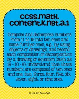 Kindergarten Math Common Core Standards Posters Measurement, Geometry