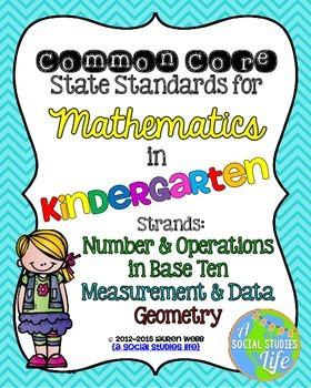 Kindergarten Math Common Core Standards Posters Measuremen
