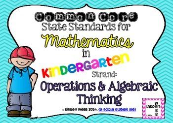 Kindergarten Math Common Core Standards Posters (Landscape version)
