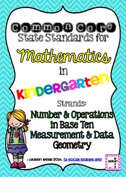 Kindergarten Math Common Core Standards Posters