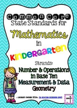 Kindergarten Math Common Core Standards Posters