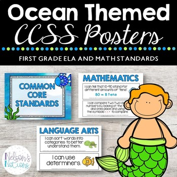 Common Core Standards Posters - OCEAN THEMED - First Grade - CCSS