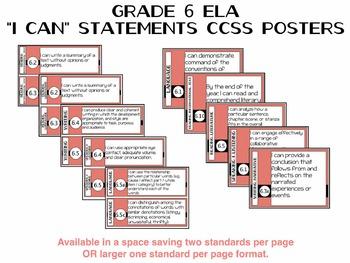 6th Grade ELA Common Core Posters - Coral Black Theme