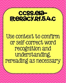 5th grade ELA Foundational Skills in Reading Common Core Standards Posters