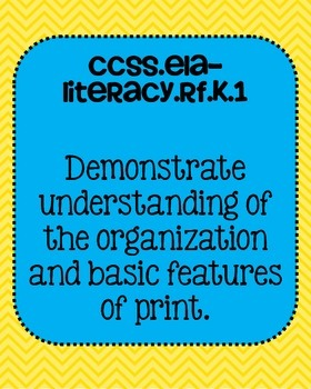 KindergartenELA Foundational Skills in Reading Common Core Standards Posters