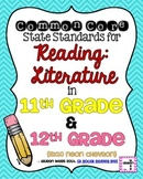 11th and 12th grade Reading Literature Common Core Standards Posters