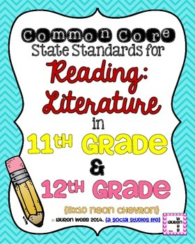 11th and 12th grade Reading Literature Common Core Standar