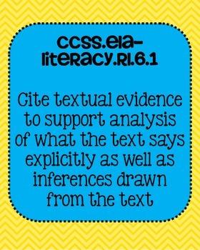 6th grade Reading Literature Common Core Standards Posters