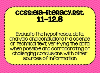 11th and 12th grade Science Common Core Standards Posters