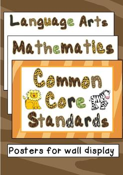 Common Core Standards Posters - ZOO THEMED - Kindergarten Aligned