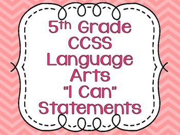 Common Core Standards Posters for Fifth Grade Language Arts {Chevron}