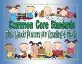 Common Core Standards Posters for First Grade Reading and Math; A Complete Set
