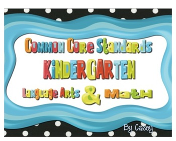 Common Core Standards Posters for Kindergarten~ BLACK AND WHITE Background