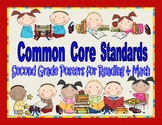 Common Core Standards Posters for Second Grade Reading and Math; A Complete Set