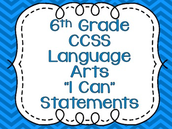 Common Core Standards Posters for Sixth Grade Language Arts {Chevron}