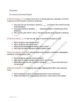 Common Core Standards Question Stems Bundle Grades 6, 7, & 8