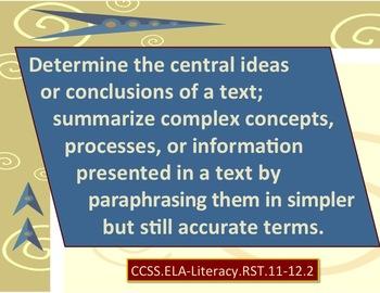 Common Core Science & Technical Subjects Mini Posters Grade 11-12