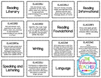 Common Core Standards Posters Second Grade Reading