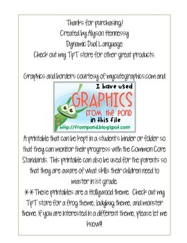 Common Core Standards Sheet for 1st Grade (English and Spanish) FROGS