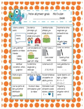 Common Core Standards Sheet for 1st Grade (English and Spanish) MONSTERS