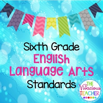 Common Core Standards Posters Sixth Grade English Language Arts