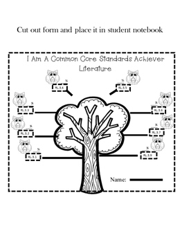 Student Goal Tracker  Common Core Standards Owl Theme 3rd Grade