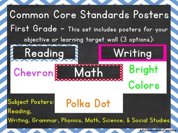 Common Core Standards Targets Posters for First Grade {Editable}