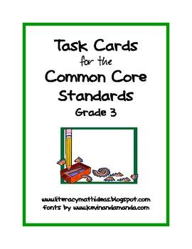 Common Core Standards Task Cards:  Grade 3