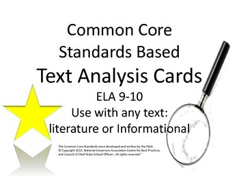 Common Core Standards Literary Analysis Task Cards : CCSS