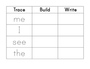 Common Core Standards- Trace, Build and Write Worksheets