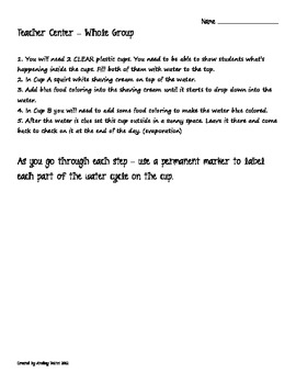 Common Core Standards Water Cycle Stations