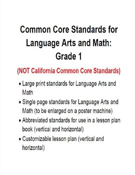 Common Core Standards and Lesson Plan for 1st grade