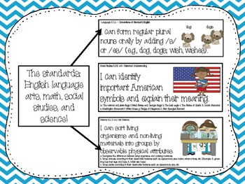 Common Core Standards and Posters in Color, Chevron, and Animal Print for Kinder