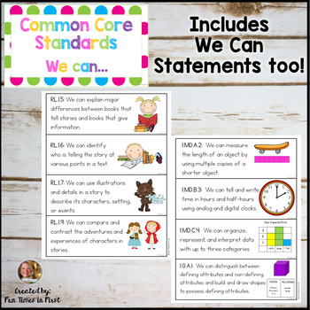 Common Core Standards for 1st Grade {Multi-Polka Dot}