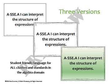 Common Core Standards for Algebra - Student-Friendly Language Posters