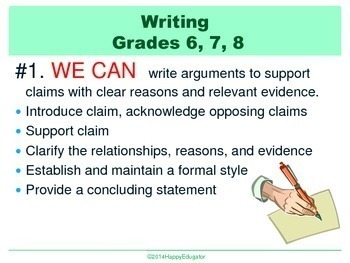 Back to School Common Core Standards for ELA Writing PowerPoint Posters